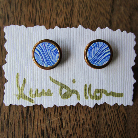 Blue Stripe Small Post Earrings