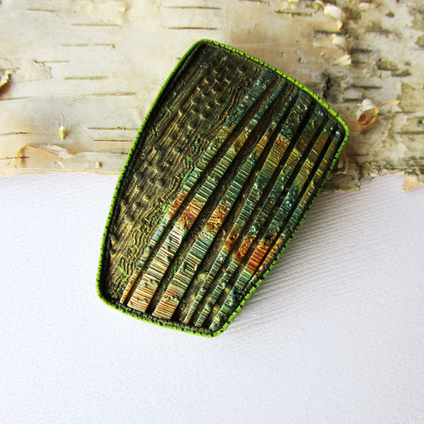 Burnished, Textured Bronze Brooch/Pendant