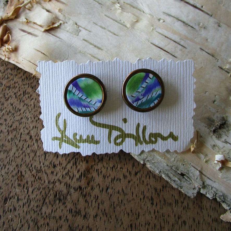 Green/Purple Abstract Medium Post Earrings