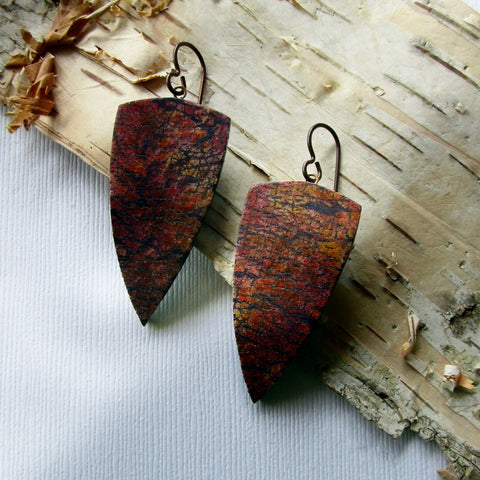 Red/Rust Crackle Drop Earrings