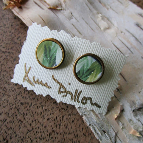 Green Chevron Abstract Medium Post Earrings
