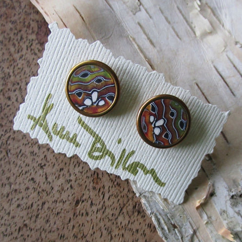 Gold/Copper Abstract Medium Post Earrings