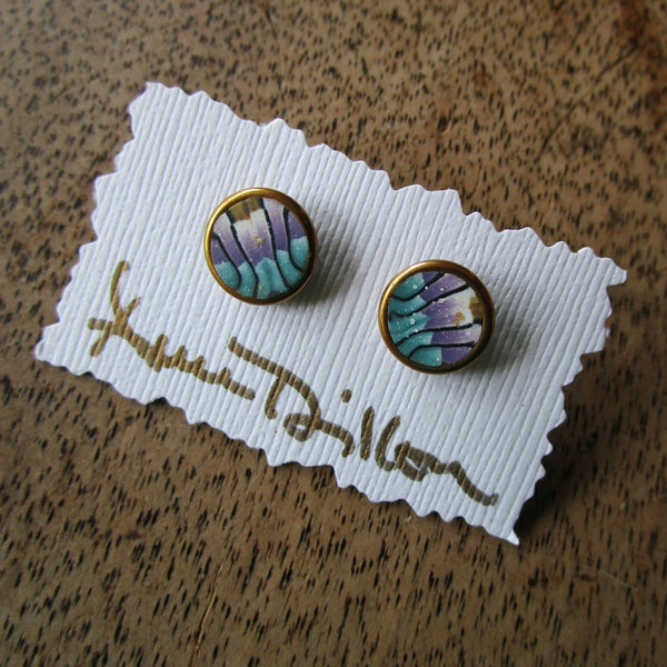 Teal/Purple Stripe Small Post Earrings