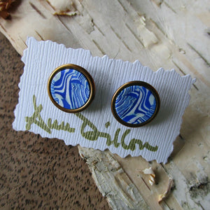 Blue Abstract Medium Post Earrings