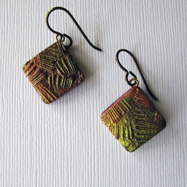 Gold Texture Drop Earrings