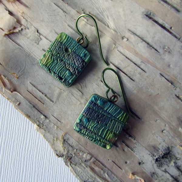 Green Textured Square Drop Earrings
