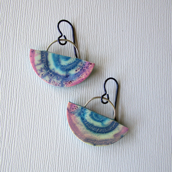 Magenta/Blue Batik Half Moon Drop Earrings