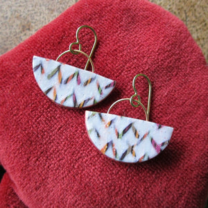Multi-colored Chevron Half Moon Drop Earrings