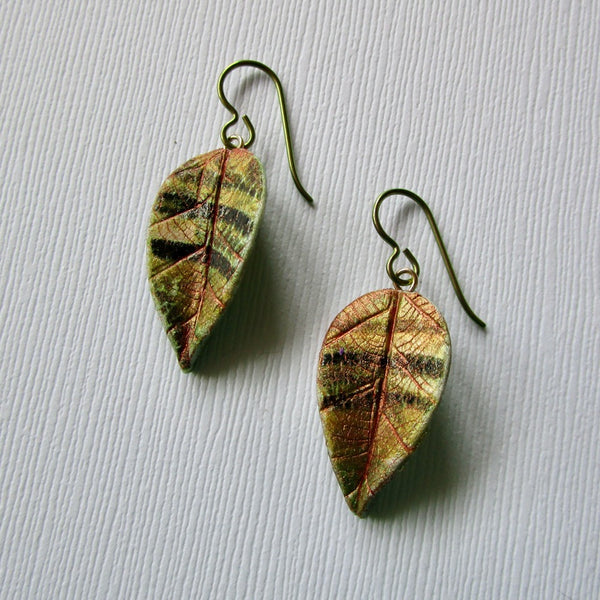 Autumn Medium Textured Leaf Drop Earrings