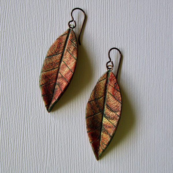 Autumn Larger Textured Leaf Drop Earrings