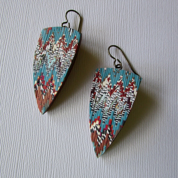Turquoise/Rust Bargello Textured Drop Earrings