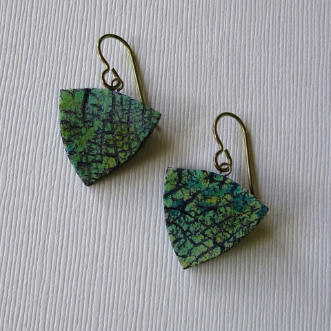 Green Crackle Triangle Drop Earrings