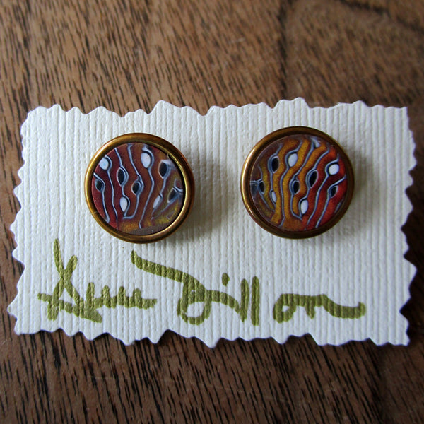 Gold/Copper Stripe with Dots Medium Post Earrings