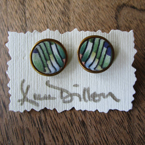Green Stripe Medium Post Earrings