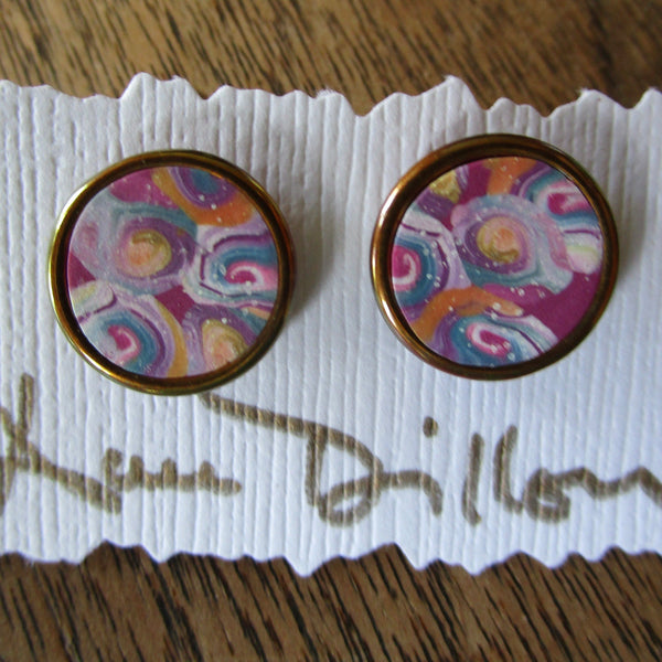 Pink Spiral Medium Post Earrings