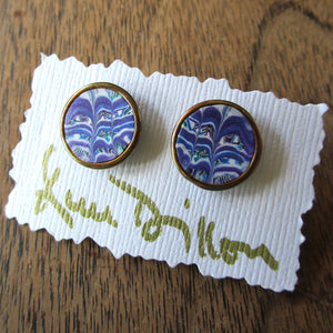 Purple Marble Medium Post Earrings