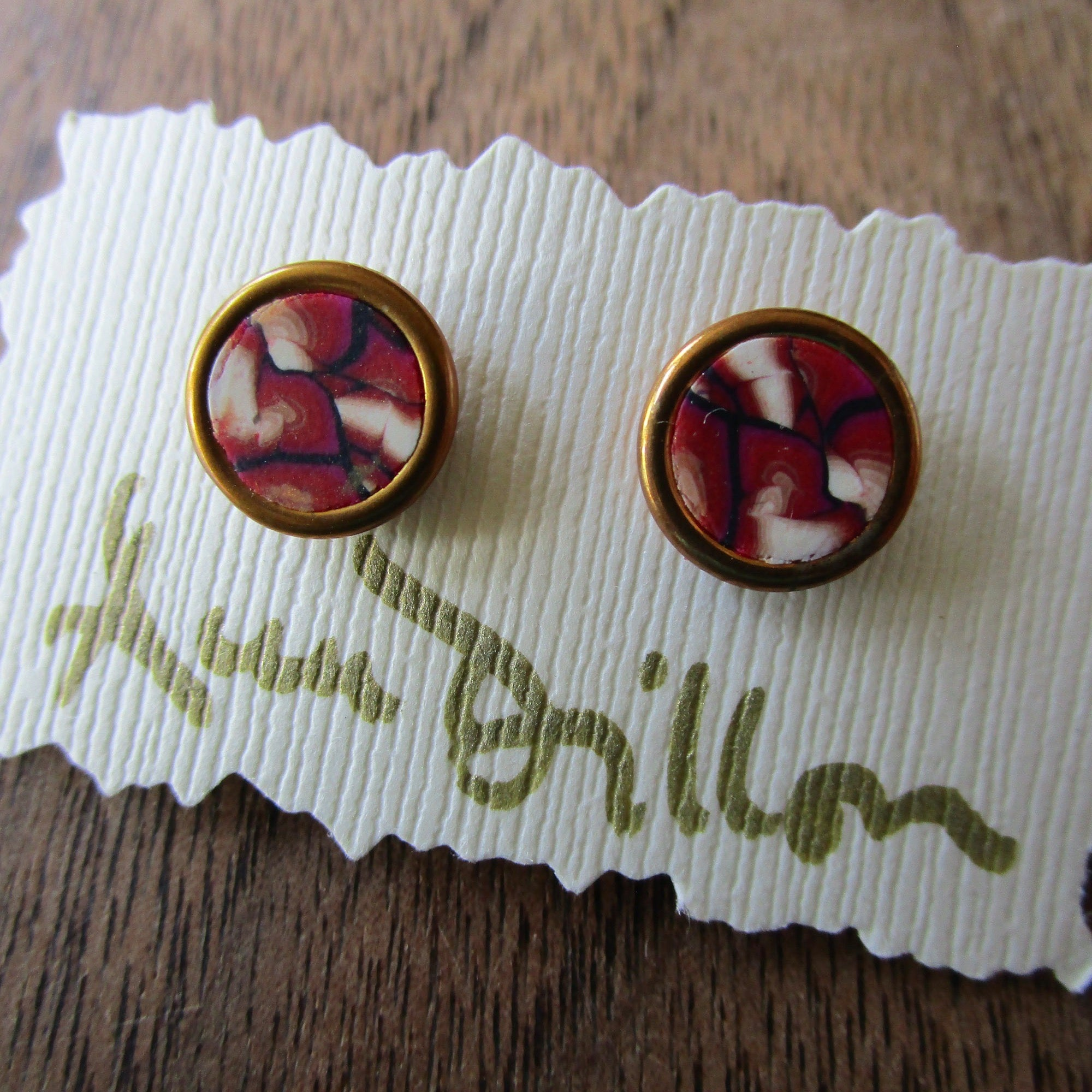 Rust/Black/White Abstract Small Post Earrings