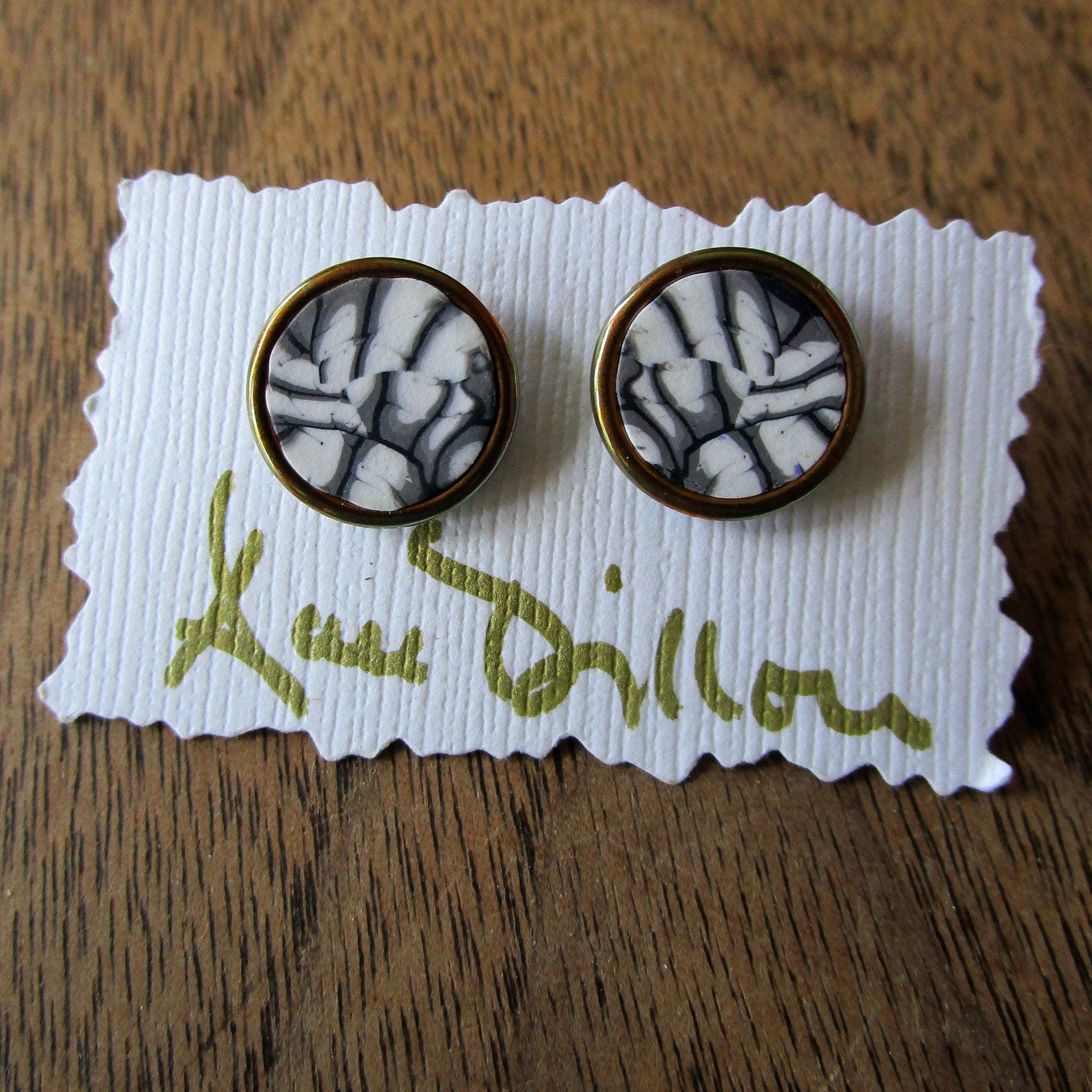 Taupe/Black/White Abstract Medium Post Earrings