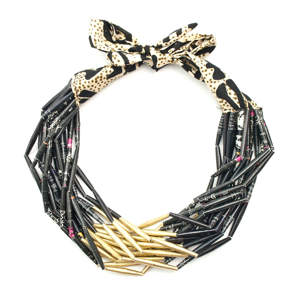 Fabric necklace gold and black