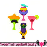 Jesse James Buttons 4pc Cheers Margarita, Tropical Drinks Buttons - Rockin Resin  - 1