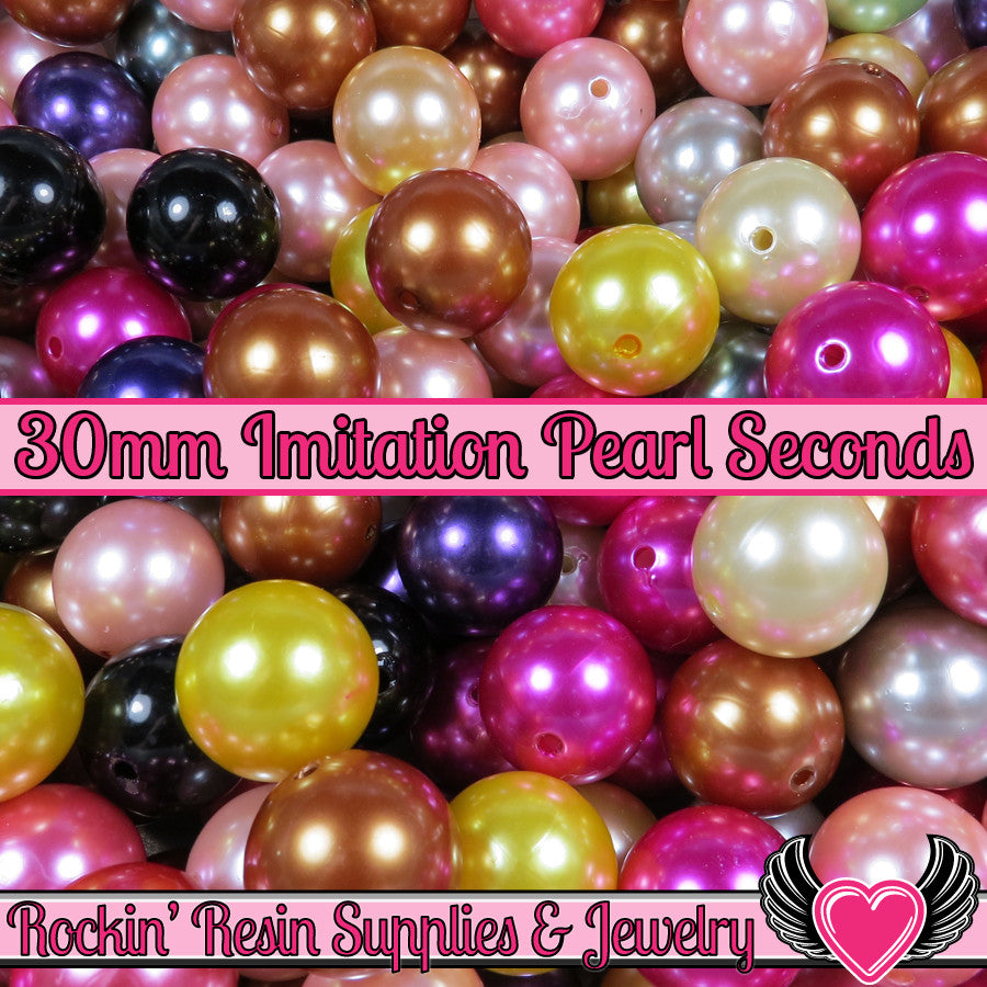 Grade B 10 HUGE PEARL Beads 30mm Imitation Pearls - Rockin Resin  - 1