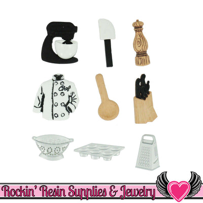 Jesse James Buttons 9pc MASTER CHEF Mixer, Jacket, Cupcake Pan, Knives, Colander Buttons