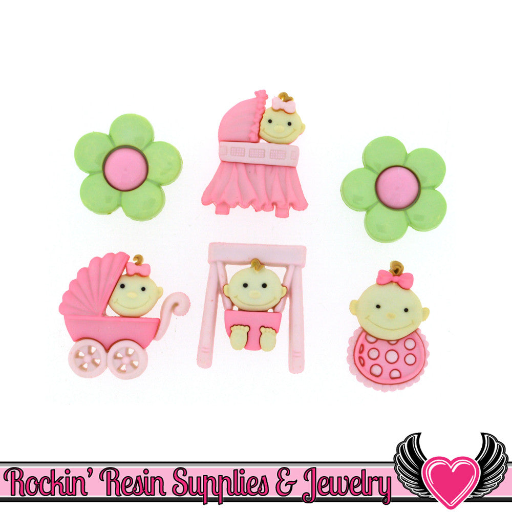 Jesse James Buttons 6 pc BABY GIRL FUN Buttons and Flatback Cabochons