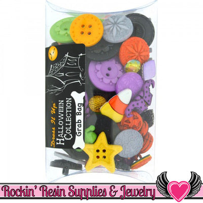 Jesse James HALLOWEEN Buttons & Flatback Cabochon Embellishment Grab Bag - Rockin Resin  - 1