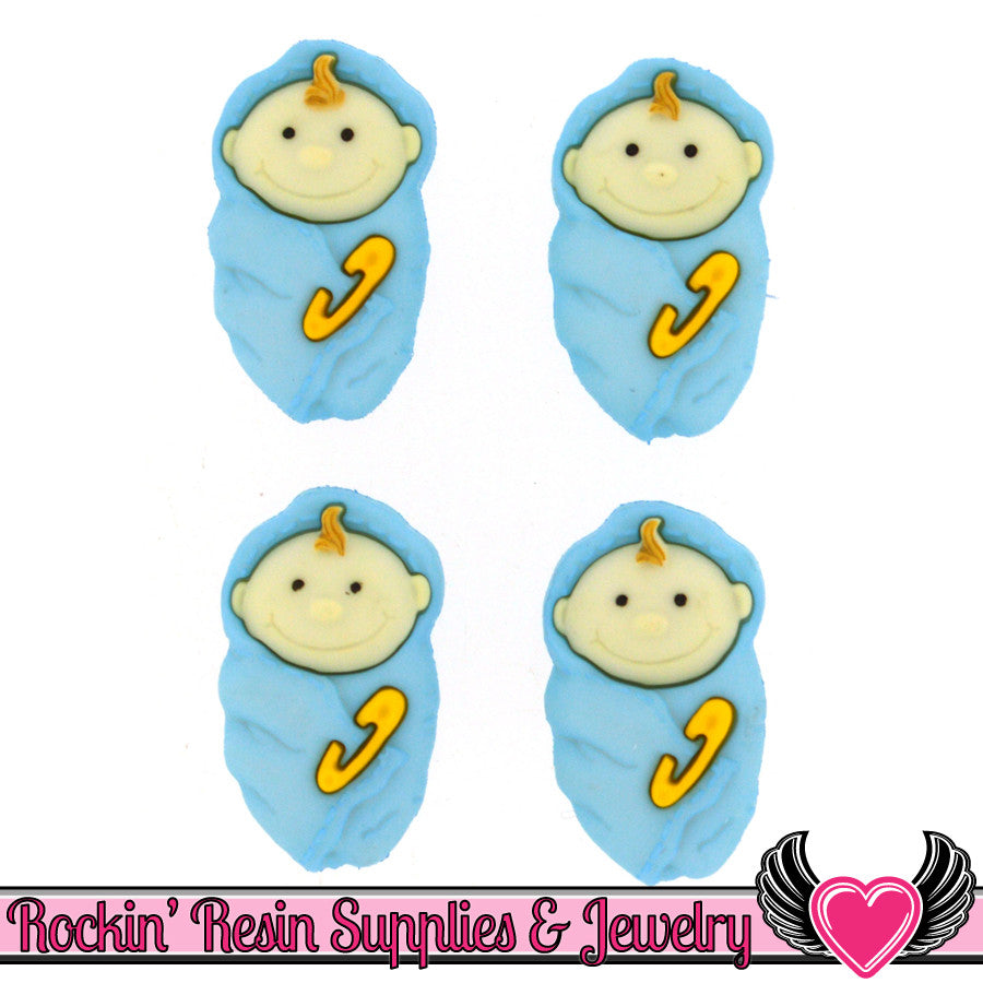 Jesse James Buttons 4 pc BABY BOY Buttons / Turn them Into Flatback Cabochons - Rockin Resin  - 1