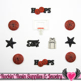 Jesse James Buttons 11 pc BASKETBALL SPORTS Buttons and Flatback Cabochons - Rockin Resin  - 2