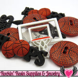 Jesse James Buttons 11 pc BASKETBALL SPORTS Buttons and Flatback Cabochons - Rockin Resin  - 1