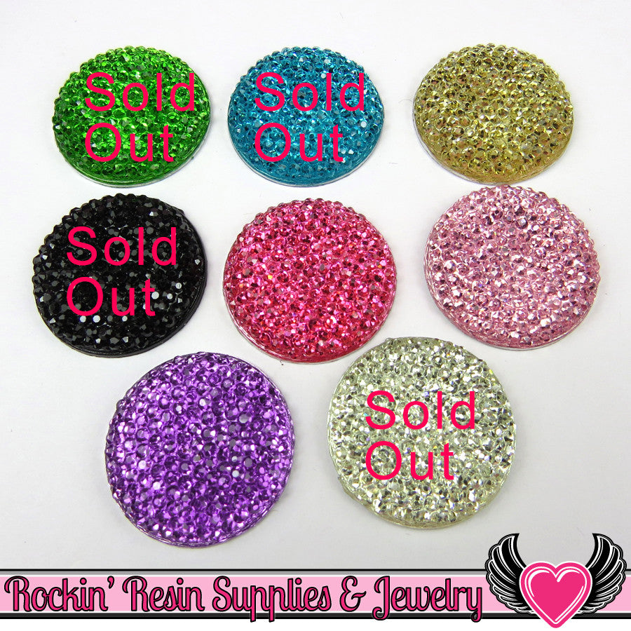 25mm Sparkly Fake Rhinestone Round Cabochons ( 10 pieces ) - Rockin Resin  - 1