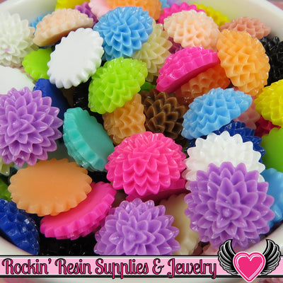 Chrysanthemum Resin Mum Flower Cabochons Earring Pairs or Mixed Colors  15mm - Rockin Resin  - 1