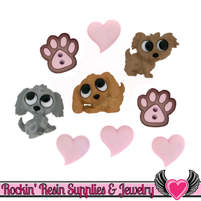 Jesse James Buttons 9 pc PUPPY LOVE OR Turn them Into Flatback Cabochons - Rockin Resin  - 1