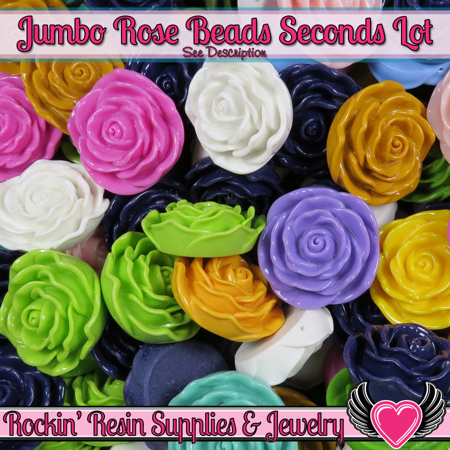 Grade B Seconds 4 JUMBO ROSE Beads 45 to 48mm - Rockin Resin  - 1