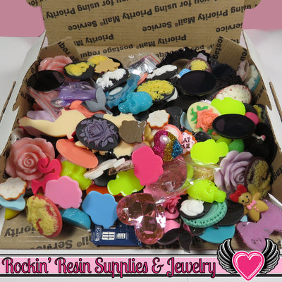 Priority Box Filled with Kawaii Cabochons & 30x40mm Resin Cameo Seconds - Rockin Resin  - 1