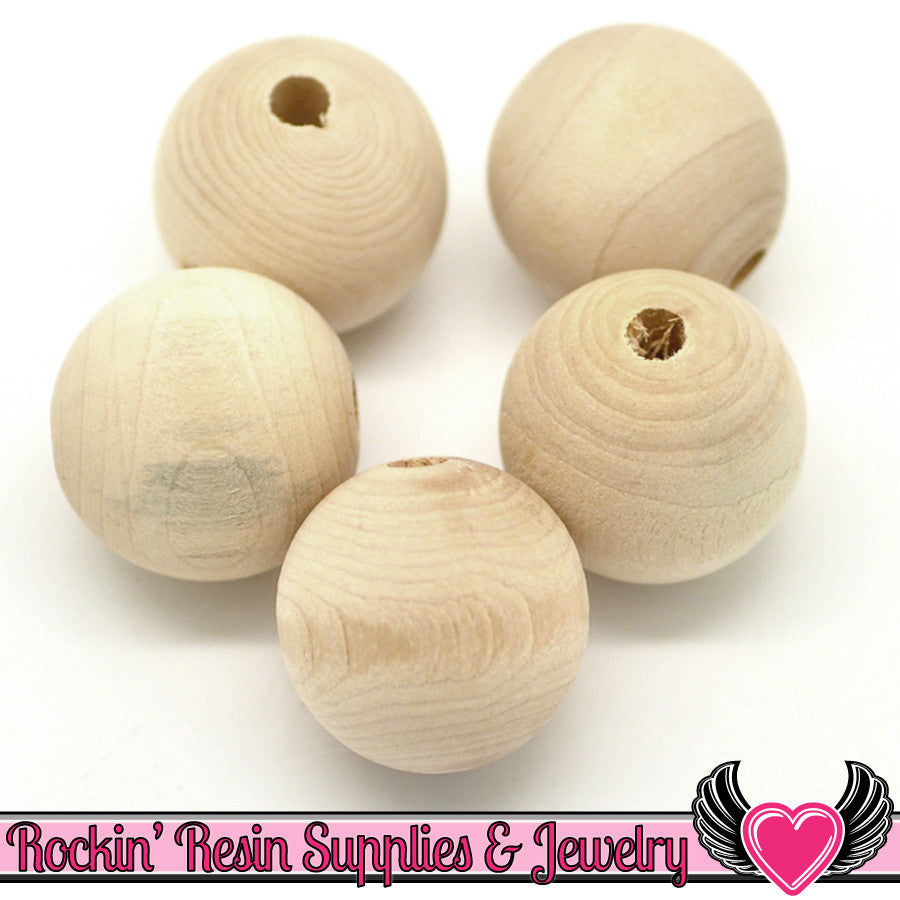 15pc 25mm Natural WOOD BEADS Unfinished Round Chunky Gumball Beads