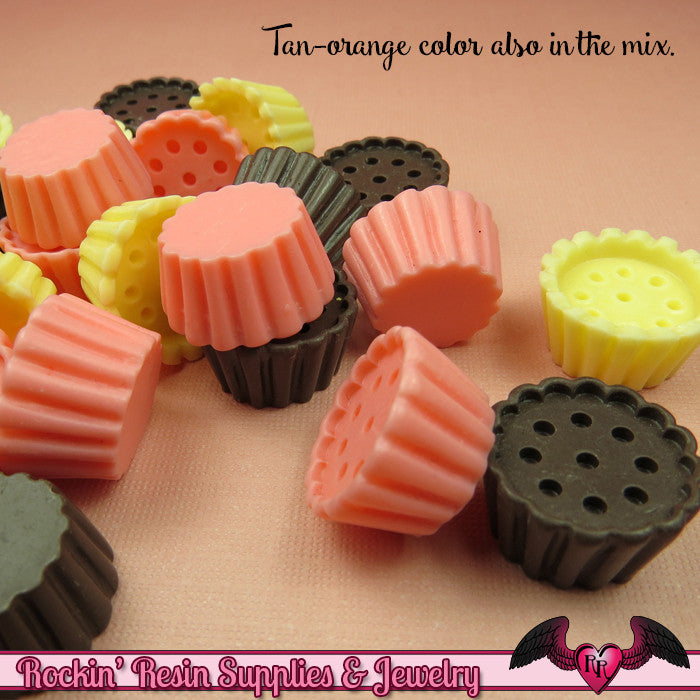 9 pcs Small CUPCAKE Base Cabochons / Resin Miniature Sweets Decoden Base 20mm