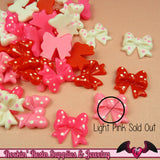 8 pc Polkadot Bows   Flatback Decoden Kawaii Cabochons 18x17mm - Rockin Resin