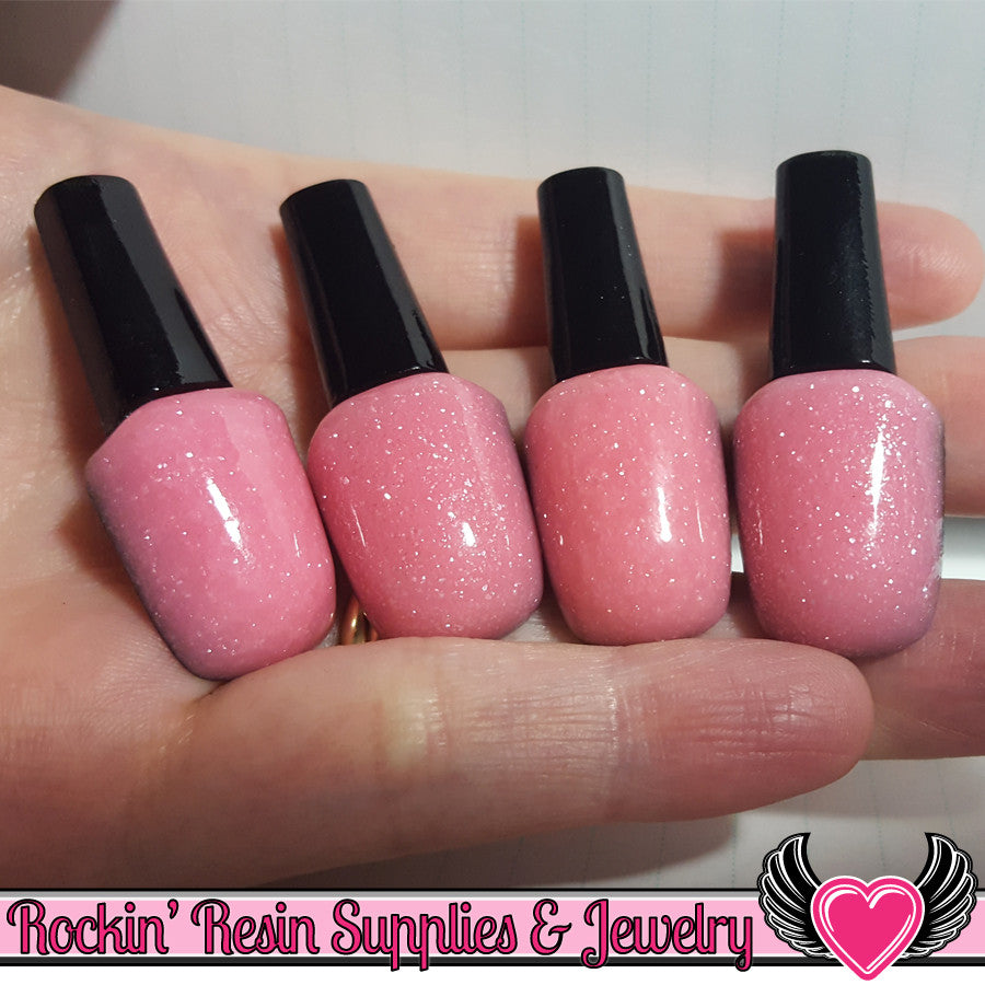 4 pcs Light Pink GLITTER NAIL POLISH Girly Flatback Resin Decoden Kawaii Cabochons