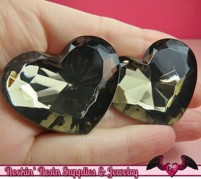 42mm HUGE HEART GEMS Smoky Grey Bronze Acrylic Faceted Rhinestones - Rockin Resin