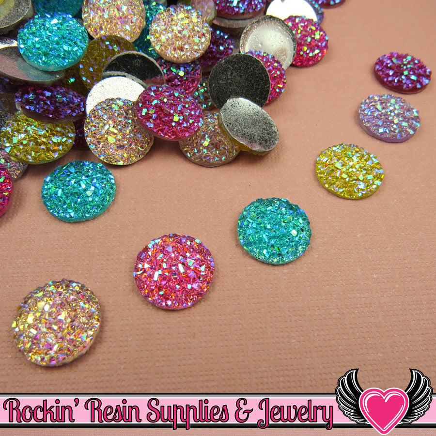 20 pcs Sparkly Glitter Faux Resin Stones Round 12mm   Resin Flatback Decoden Kawaii Cabochons
