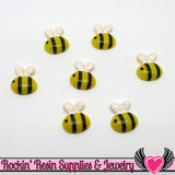 6 pc BUMBLE BEE Flatback Decoden Kawaii Cabochons  21x19mm - Rockin Resin  - 2