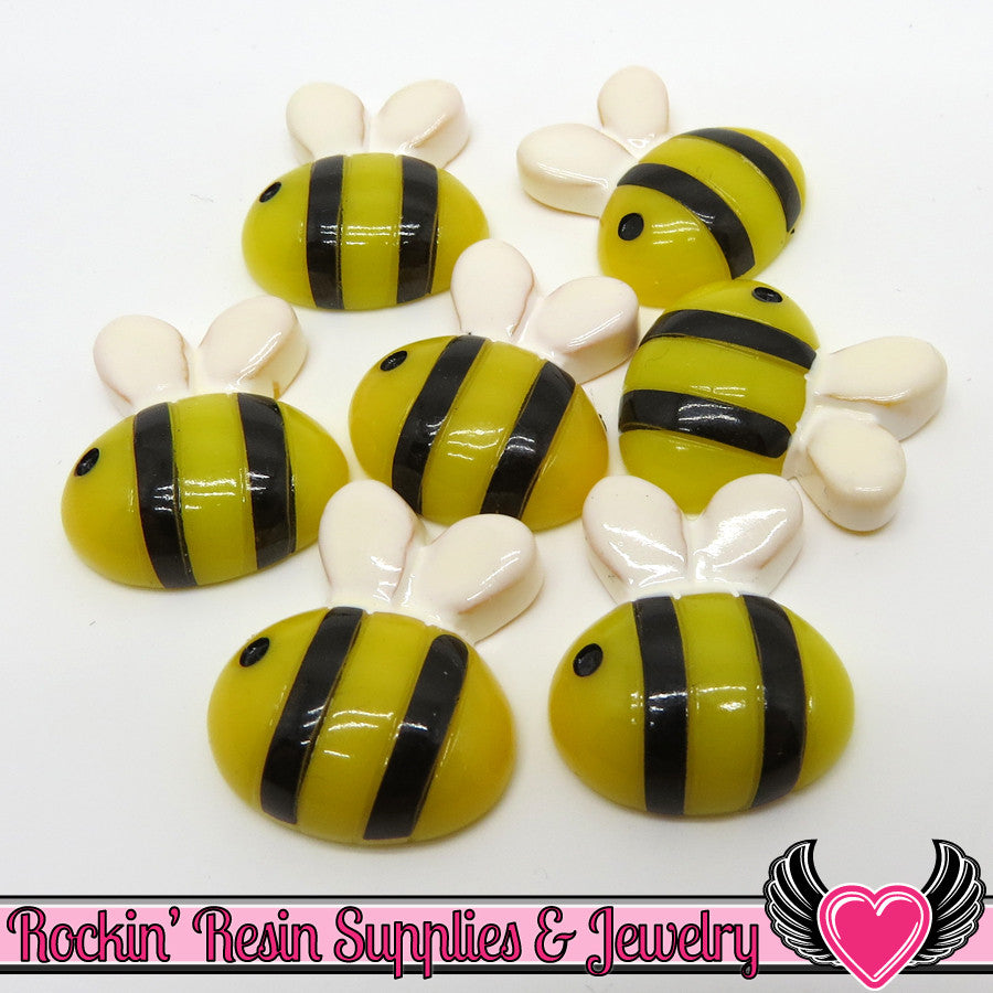 6 pc BUMBLE BEE Flatback Decoden Kawaii Cabochons  21x19mm - Rockin Resin  - 1