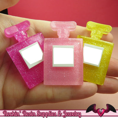 3 pcs PERFUME BOTTLE Large Girly Cellphone Decoden Kawaii Cabochons - Rockin Resin