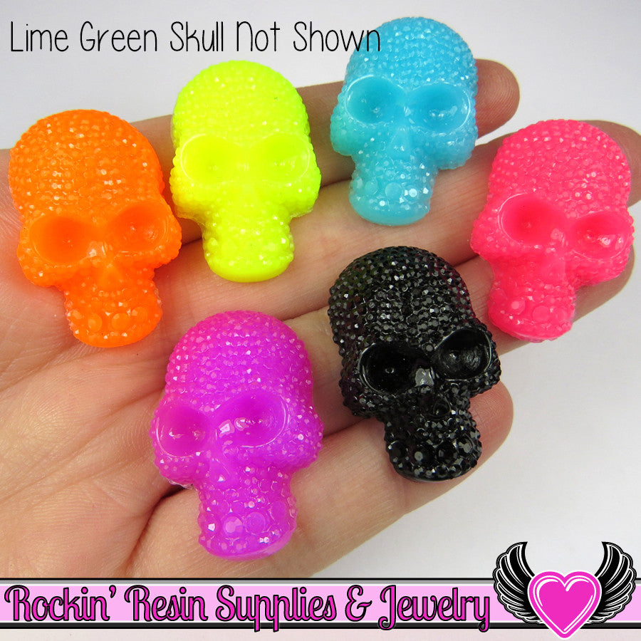 5 pc Neon SKULL Cabochons Faux Rhinestone Halloween Decoden Kawaii Cabochon 32x20mm - Rockin Resin
