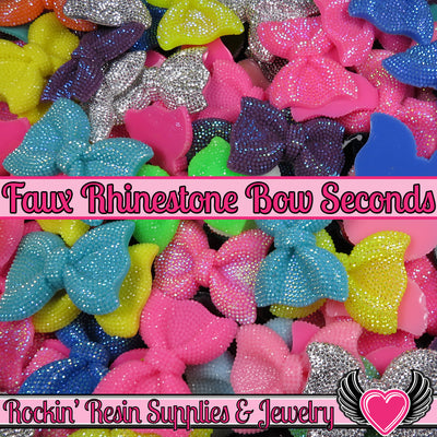 Grade B SEconds 4 pcs FAUX RHINESTONE Bows Large Flatback Resin Decoden Kawaii Cabochons 54x42mm - Rockin Resin  - 1
