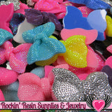 Grade B SEconds 4 pcs FAUX RHINESTONE Bows Large Flatback Resin Decoden Kawaii Cabochons 54x42mm - Rockin Resin  - 3