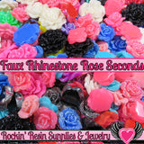 Seconds 6 pcs FAUX RHINESTONE ROSES Flatback Resin Flower Cabochons - Rockin Resin  - 1