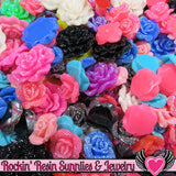 Seconds 6 pcs FAUX RHINESTONE ROSES Flatback Resin Flower Cabochons - Rockin Resin  - 2